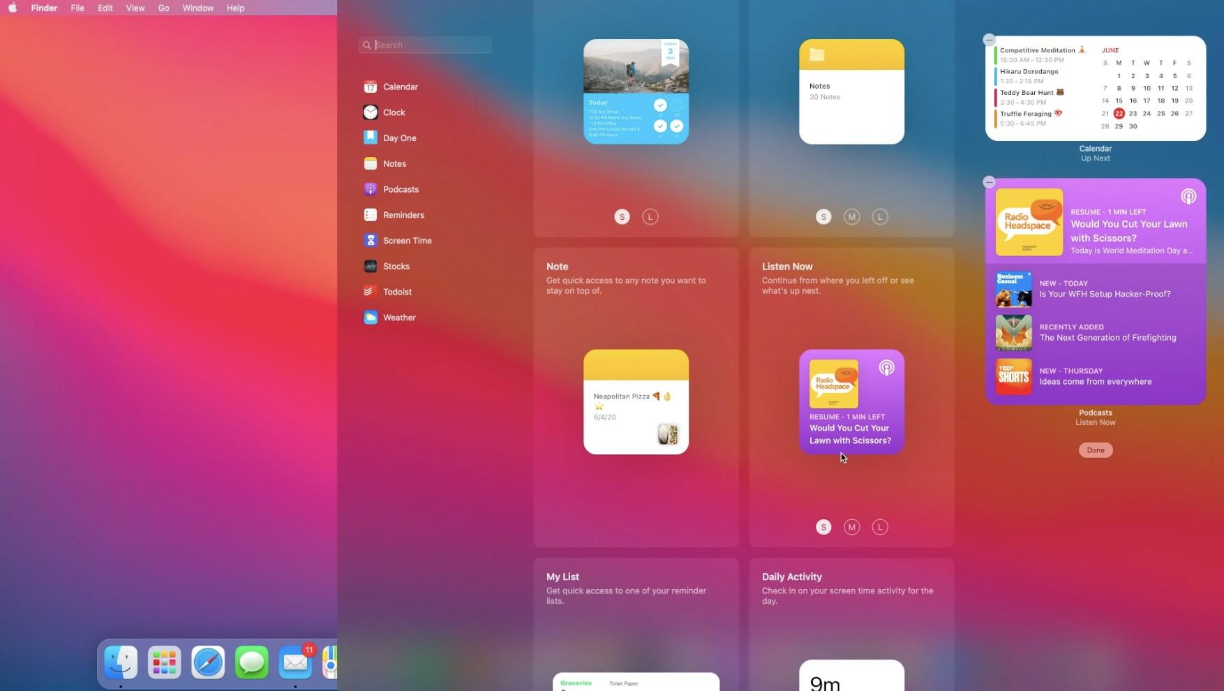 MacOS widgets