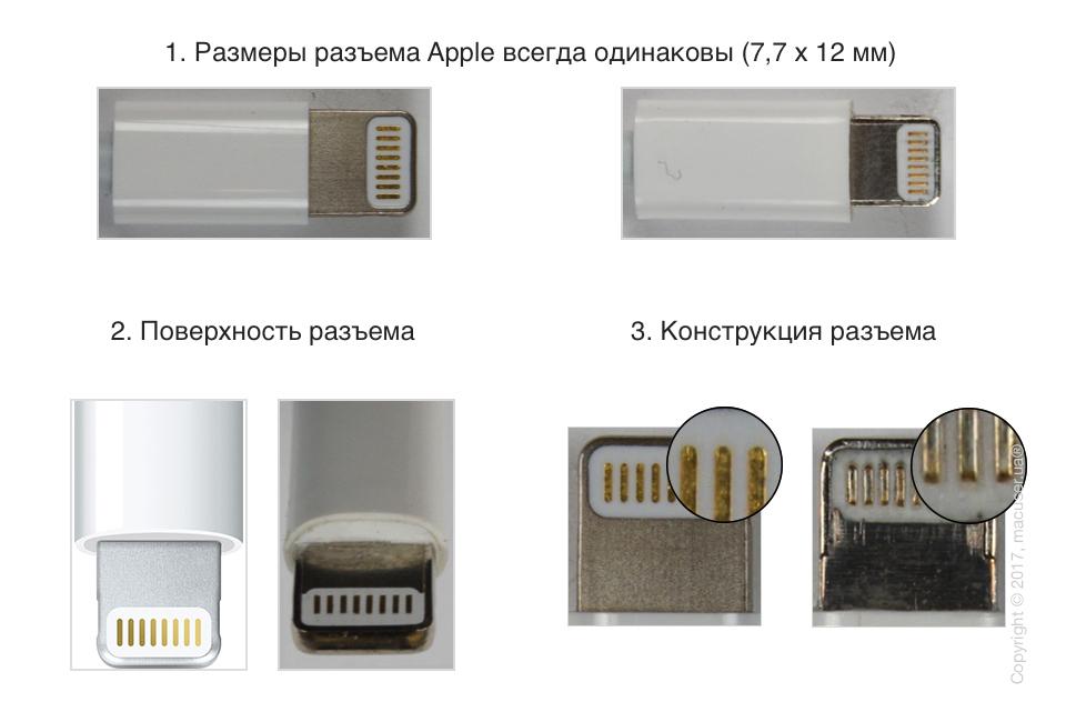 Как отличить оригинальный кабель Lightning от подделки