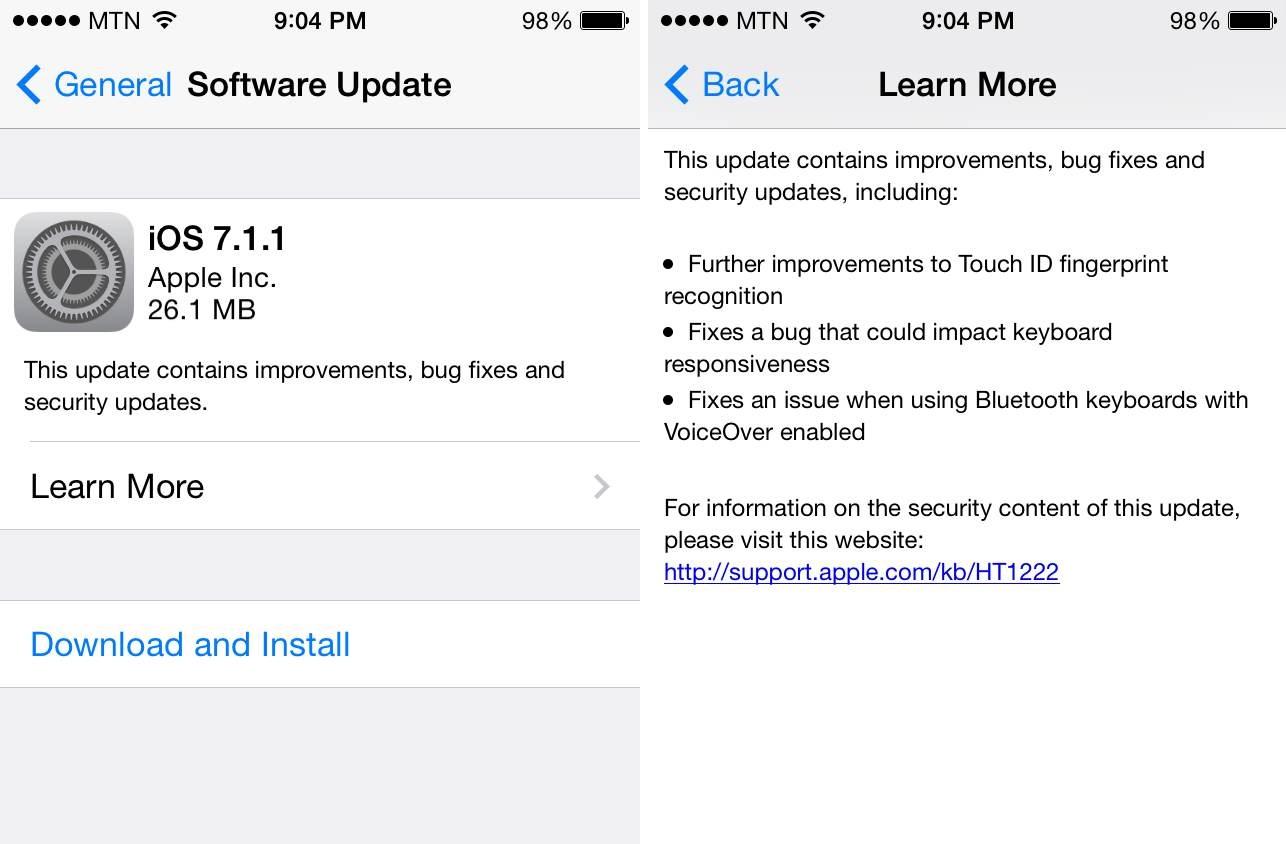 Вышла iOS 7.1.1. Апдейт ни о чём