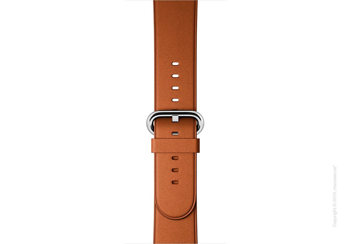 Классический золотисто-коричневый кожаный ремешок Saddle Brown Classic Buckle 38mm