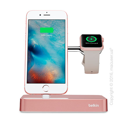 Док-станция Belkin Valet Charge Dock for Apple Watch + iPhone, Rose Gold