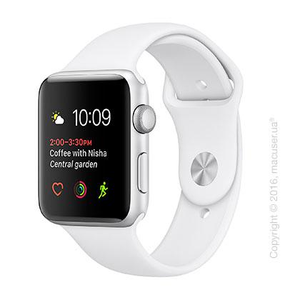 Apple Watch Series 2 42mm Silver Aluminum Case с белым спортивным ремешком
