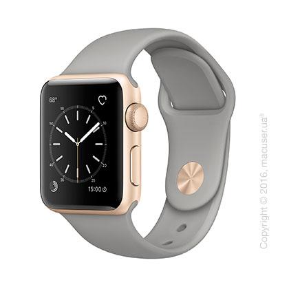Apple Watch Series 2 38mm Gold Aluminum Case со спортивным ремешком цвета «серый камень»