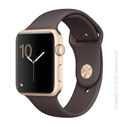 Apple Watch Series 2 42mm Gold Aluminum Case со спортивным ремешком цвета «тёмное какао»