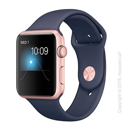 Apple Watch Series 2 42mm Rose Gold Aluminum Case с темно-синим спортивным ремешком