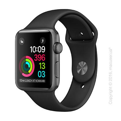 Apple Watch Series 2 42mm Space Gray Aluminum Case с чёрным спортивным ремешком