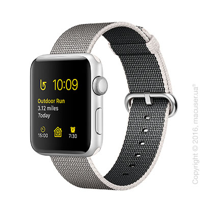 Apple Watch Series 2 38mm Silver Aluminum Case с ремешком из плетёного нейлона жемчужного цвета