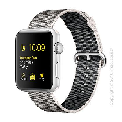 Apple Watch Series 2 42mm Silver Aluminum Case с ремешком из плетёного нейлона жемчужного цвета
