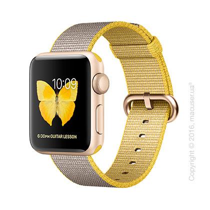 Apple Watch Series 2 38mm Gold Aluminum Case со спортивным ремешком цвета «жёлтый/светло‑серый»
