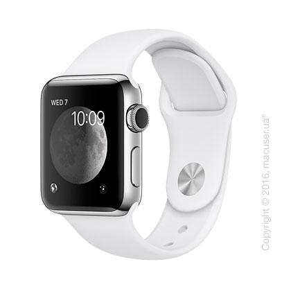 Apple Watch Series 2 38mm Stainless Steel Case с белым спортивным ремешком
