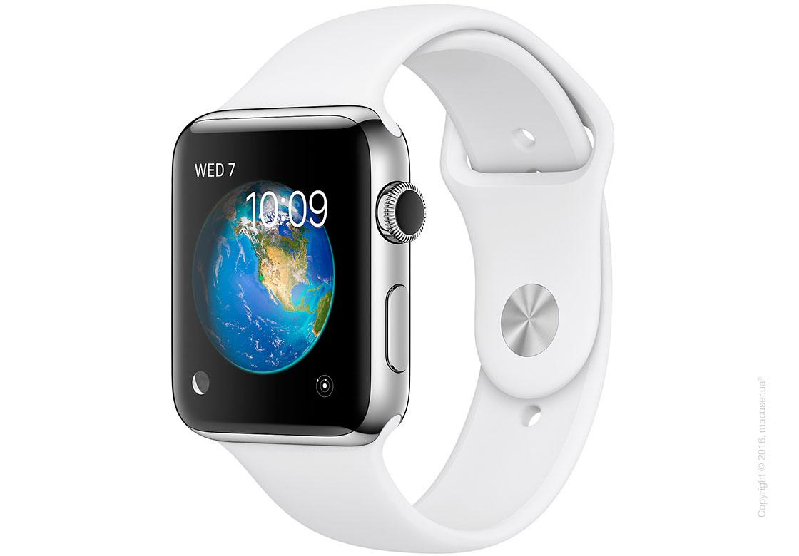Apple Watch Series 2 42mm Stainless Steel Case с белым спортивным ремешком