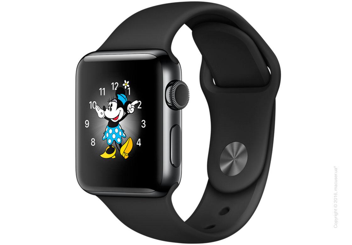 Apple Watch Series 2 38mm Space Black Stainless Steel Case с чёрным спортивным ремешком