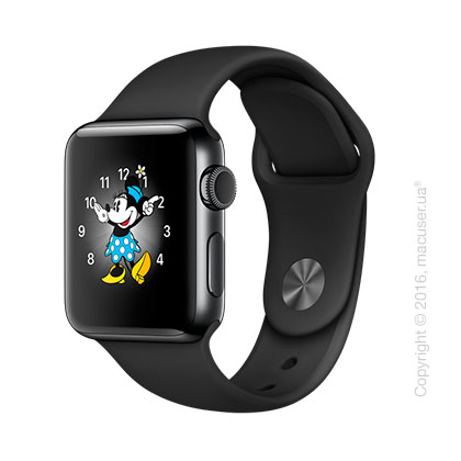 Apple Watch Series 2 38mm Space Black Stainless Steel Case с чёрным спортивным ремешком