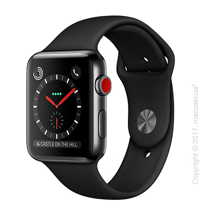Apple Watch Series 3 GPS + Cellular 42mm Space Black Stainless Steel Case с чёрным спортивным ремешком