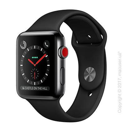 Apple Watch Series 3 GPS + Cellular 42mm Space Black Stainless Steel Case с чёрным спортивным ремешком