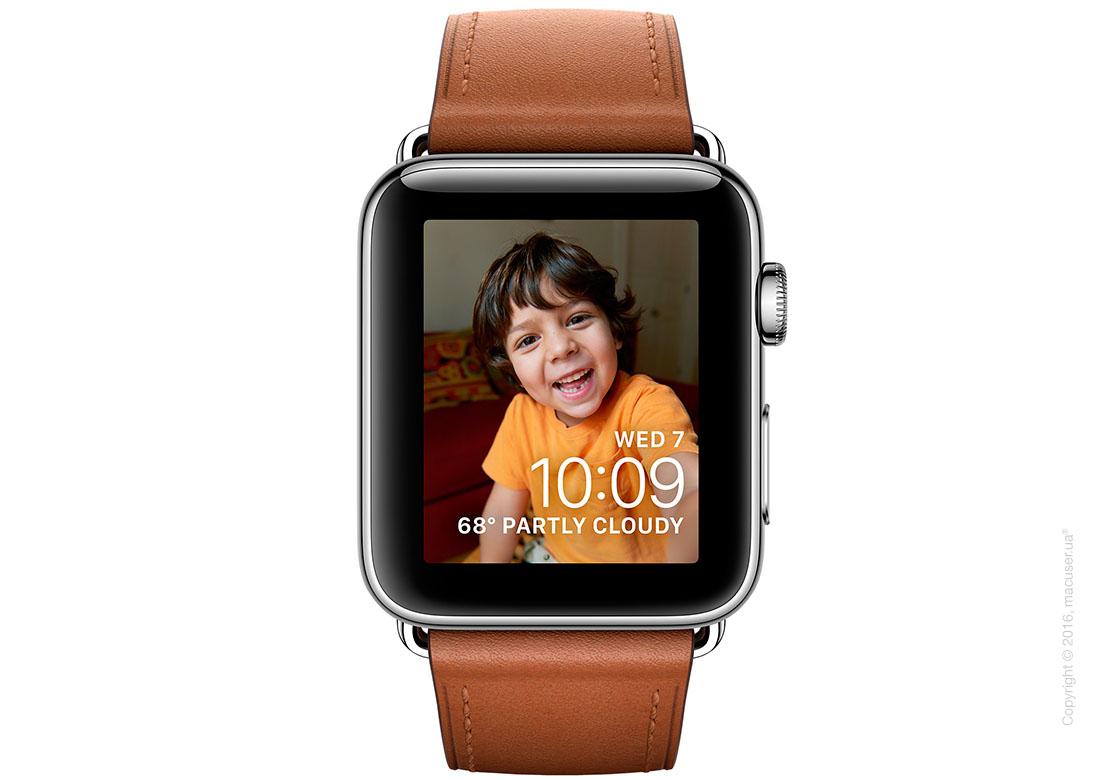Apple Watch Series 2 38mm Stainless Steel Case с золотисто-коричневым ремешком и классической пряжкой