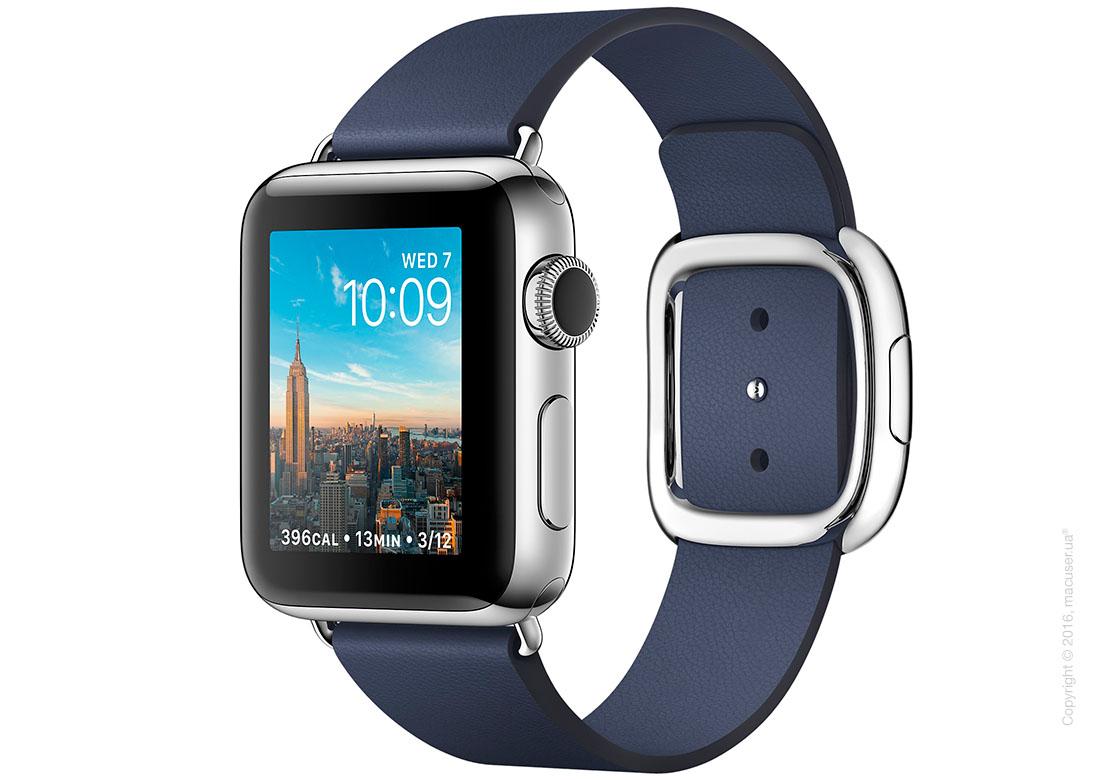 Apple Watch Series 2 38mm Stainless Steel Case с темно-синим кожаным ремешком и современной пряжкой