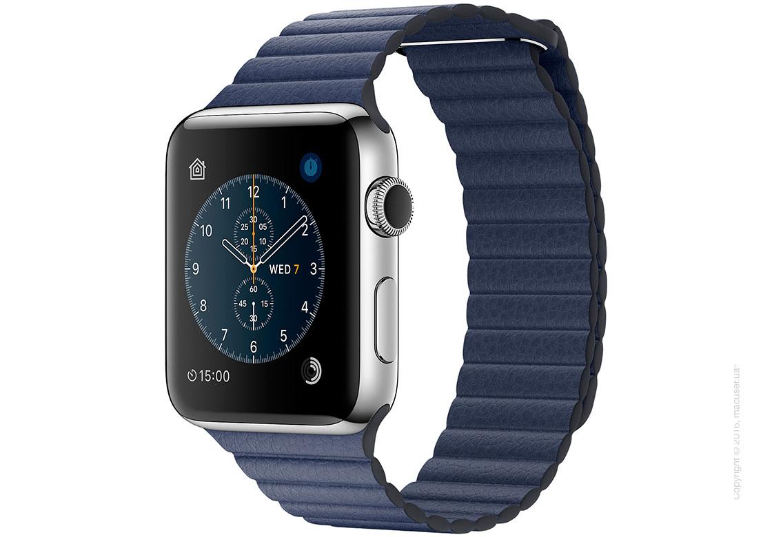 Apple Watch Series 2 42mm Stainless Steel Case с темно-синим кожаным ремешком