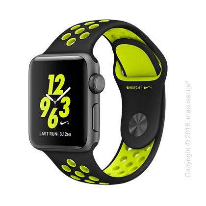 Apple Watch Nike+ 38mm Space Gray Aluminum Case со спортивным ремешком Nike цвета «чёрный/салатовый»