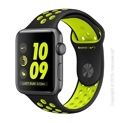 Apple Watch Nike+ 42mm Space Gray Aluminum Case со спортивным ремешком Nike цвета «чёрный/салатовый»