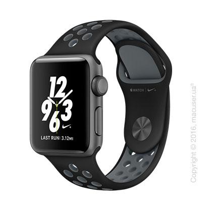 Apple Watch Nike+ 38mm Space Gray Aluminum Case со спортивным ремешком Nike цвета «чёрный/холодный серый»