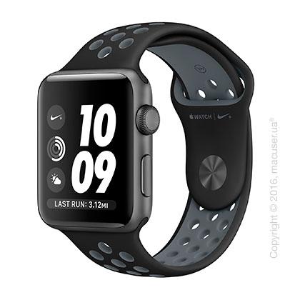 Apple Watch Nike+ 42mm Space Gray Aluminum Case со спортивным ремешком Nike цвета «чёрный/холодный серый»