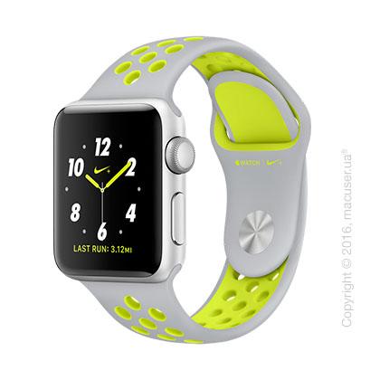 Apple Watch Nike+ 38mm Silver Aluminum Case со спортивным ремешком Nike цвета «листовое серебро/салатовый»