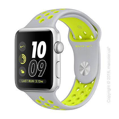 Apple Watch Nike+ 42mm Silver Aluminum Case со спортивным ремешком Nike цвета «листовое серебро/салатовый»