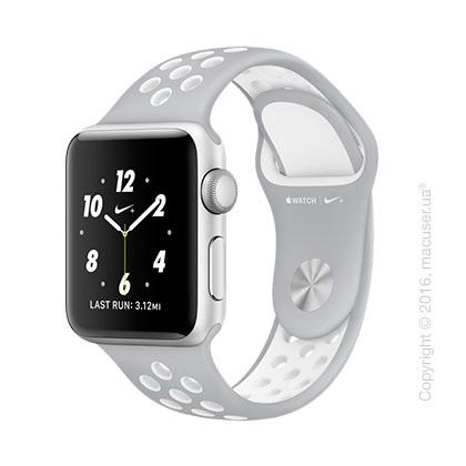 Apple Watch Nike+ 38mm Silver Aluminum Case со спортивным ремешком Nike цвета «листовое серебро/белый»