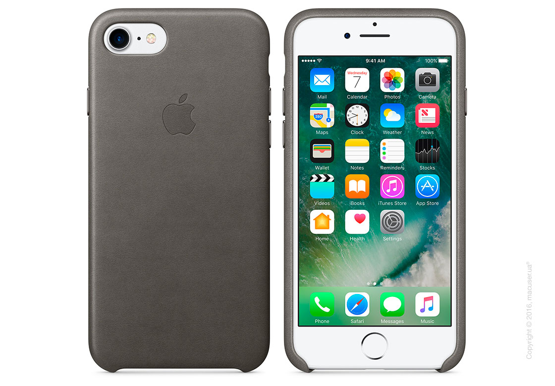 Чехол Apple iPhone 8/7 Leather Case, Storm Gray