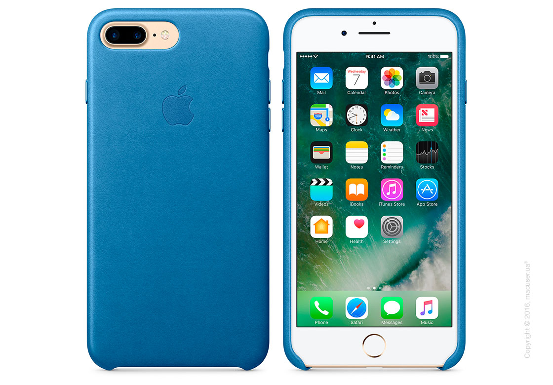 Чехол Apple iPhone 8 Plus/7 Plus Leather Case, Sea Blue