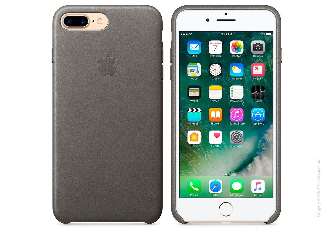 Чехол Apple iPhone 8 Plus/7 Plus Leather Case, Storm Gray