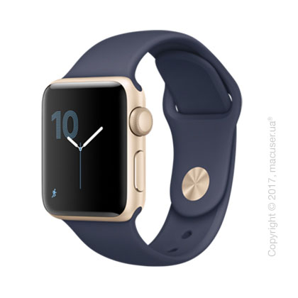 Apple Watch Series 2 38mm Gold Aluminum Case со спортивным ремешком тёмно‑синего цвета