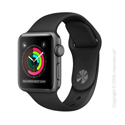 Apple Watch Series 3 GPS 38mm Space Gray Aluminum Case с чёрным спортивным ремешком