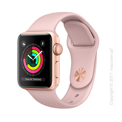 Apple Watch Series 3 GPS 38mm Gold Aluminum Case со спортивным ремешком цвета