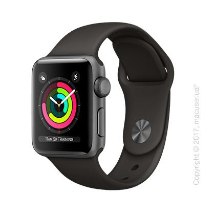 Apple Watch Series 3 GPS 38mm Space Gray Aluminum Case с серым спортивным ремешком