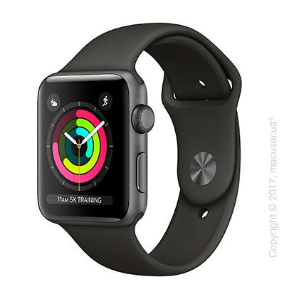 Apple Watch Series 3 GPS 42mm Space Gray Aluminum Case с серым спортивным ремешком