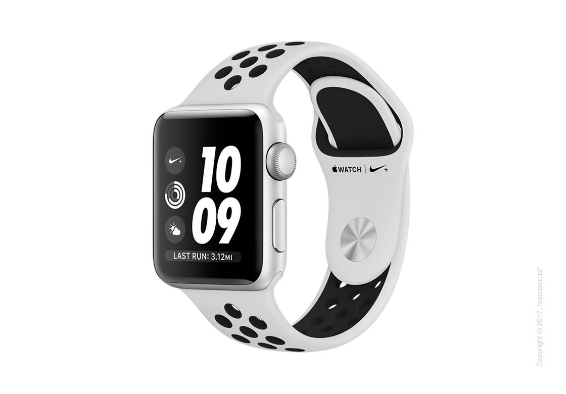Apple Watch Series 3 38mm Silver Aluminum Case со спортивным ремешком Nike цвета «чистая платина/чёрный»