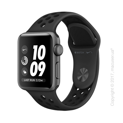 Apple Watch Series 3 38mm Space Gray Aluminum Case со спортивным ремешком Nike цвета «антрацитовый/чёрный»