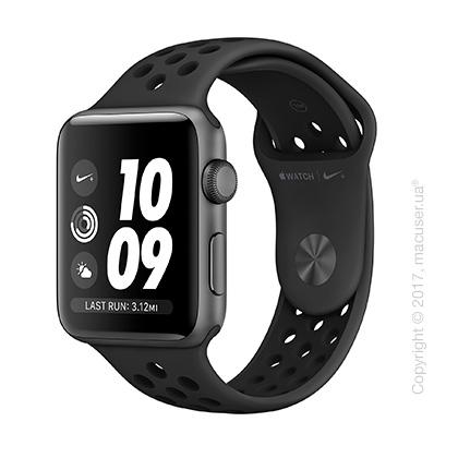 Apple Watch Series 3 42mm Space Gray Aluminum Case со спортивным ремешком Nike цвета «антрацитовый/чёрный»