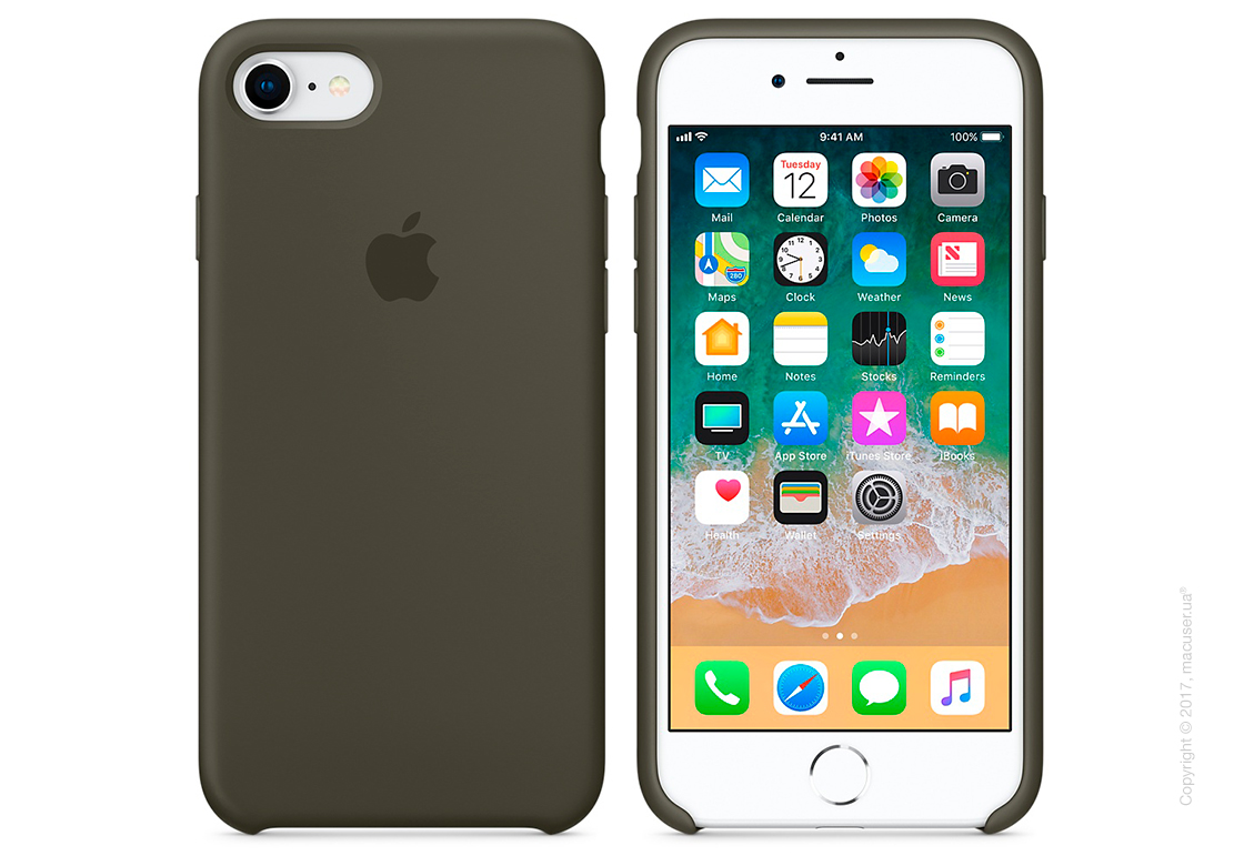 Чехол Apple iPhone 8/7 Silicone Case, Dark Olive