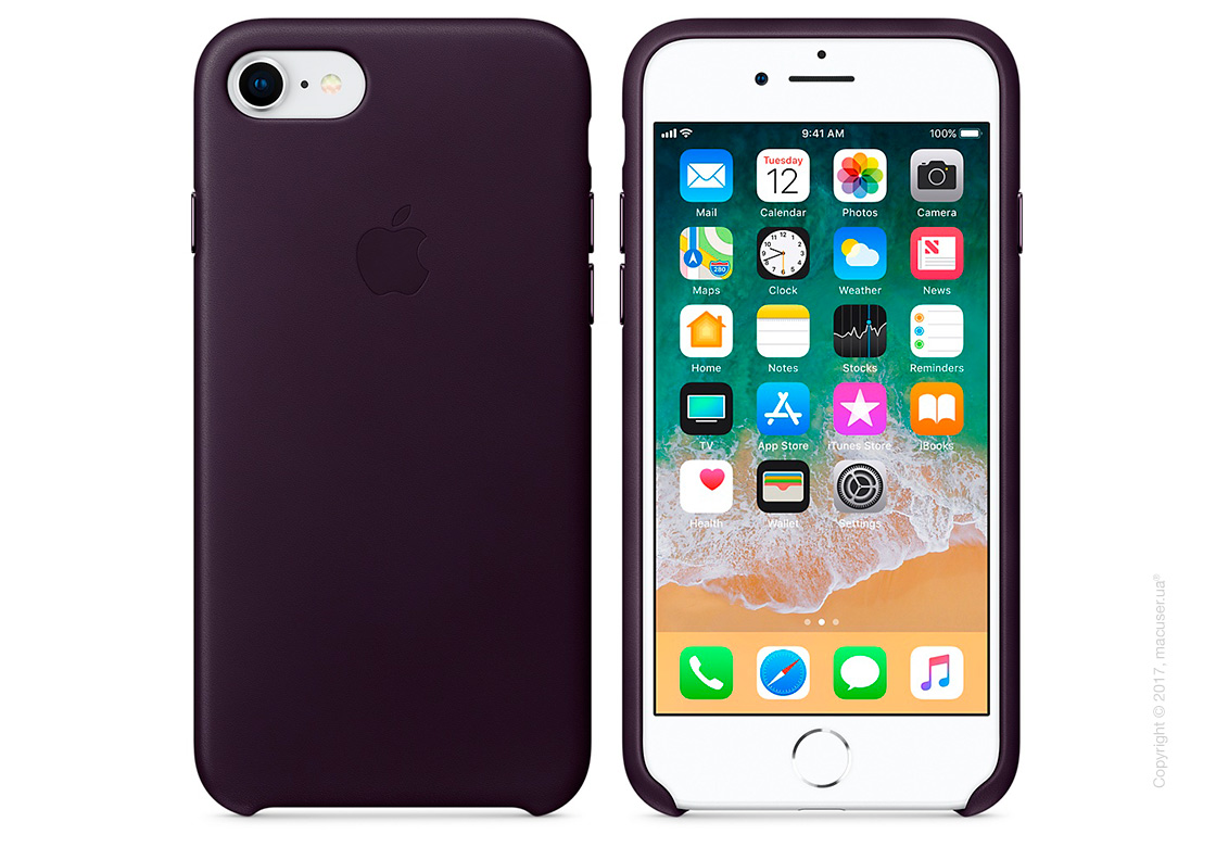 Чехол Apple iPhone 8/7 Leather Case, Dark Aubergine