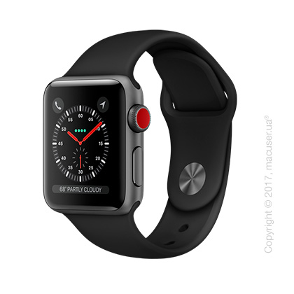 Apple Watch Series 3 GPS + Cellular 38mm Space Gray Aluminum Case с чёрным спортивным ремешком