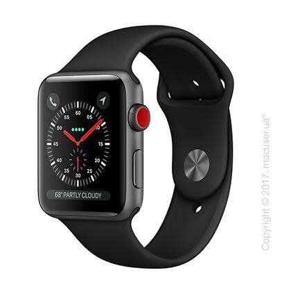 Apple Watch Series 3 GPS + Cellular 42mm Space Gray Aluminum Case с чёрным спортивным ремешком