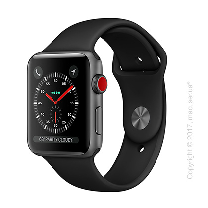 Apple Watch Series 3 GPS + Cellular 42mm Space Gray Aluminum Case с чёрным спортивным ремешком