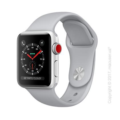 Apple Watch Series 3 GPS + Cellular 38mm Silver Aluminum Case с дымчатым спортивным ремешком