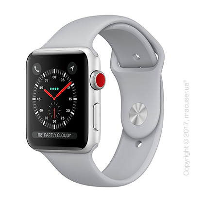Apple Watch Series 3 GPS + Cellular 42mm Silver Aluminum Case с дымчатым спортивным ремешком