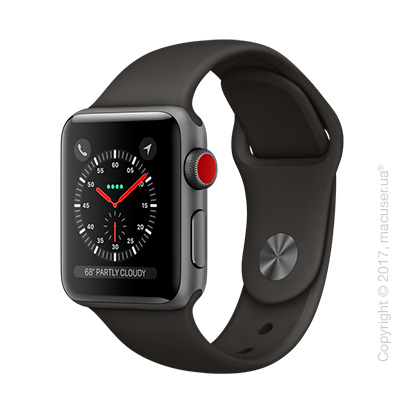 Apple Watch Series 3 GPS + Cellular 38mm Space Gray Aluminum Case с серым спортивным ремешком