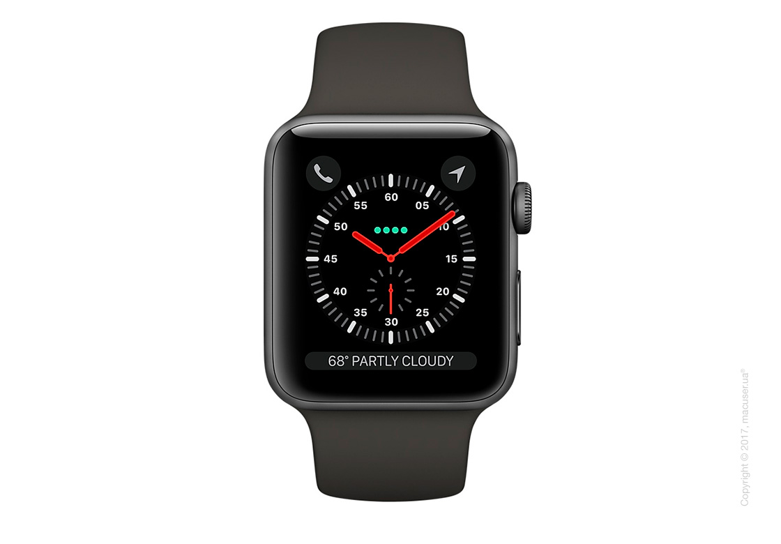 Apple Watch Series 3 GPS + Cellular 42mm Space Gray Aluminum Case с серым спортивным ремешком