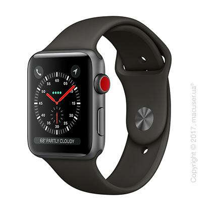Apple Watch Series 3 GPS + Cellular 42mm Space Gray Aluminum Case с серым спортивным ремешком